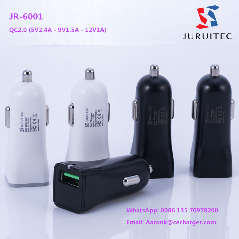 QC2.0 CE,FCC,RoHS single port USB car charger