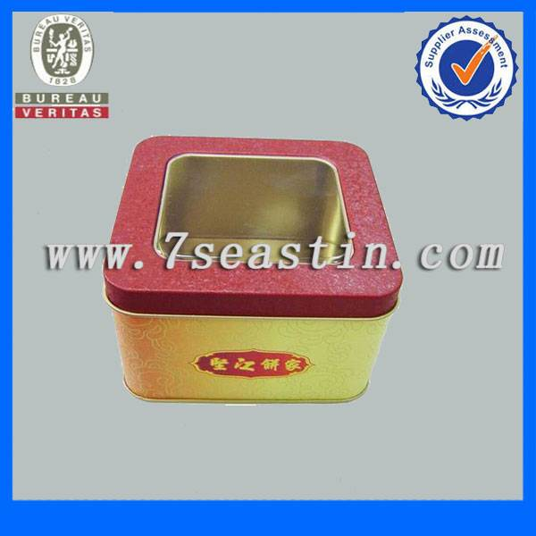 handmade cakes tin box tin can with clear window