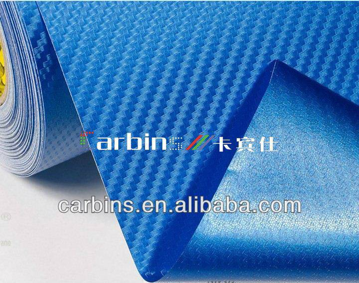 Blue 3D Carbon Fiber Car Wrap Vinyl Film/Blue 3D Carbon Fiber Sticker for Car Decoration Air Bubble