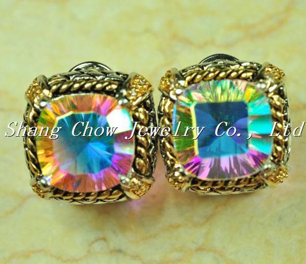 Rainbow Topaz 925 Sterling silver Gemstone Earrings