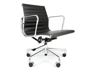 Eames Style Aluminum Management Chair in Leather ( Low-Back )