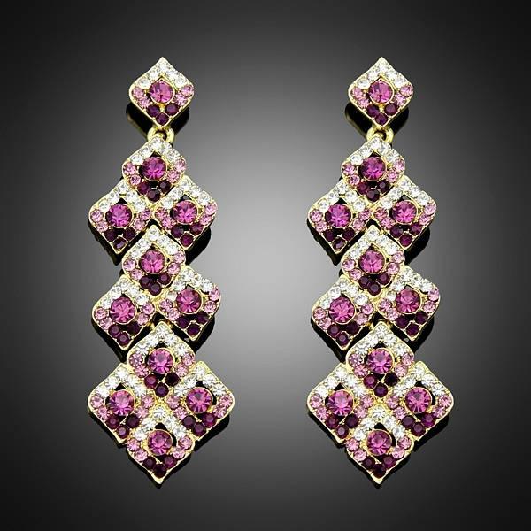 Europe Style Rhinestone Drop super star purple earrings for women Crystal Rhinestone long jewelry Fr