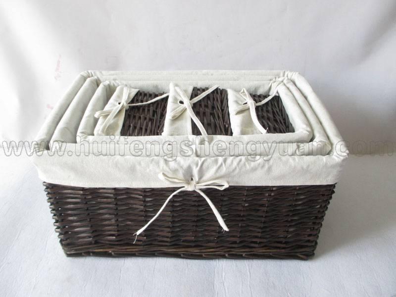 rectangular willow storage basket set with fabric lining