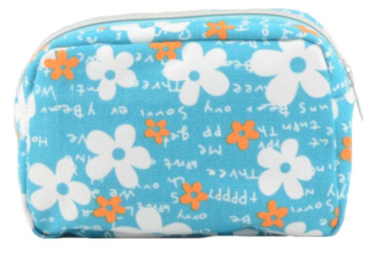 Modern fashion floral printing blue cosmetic bag for ladies