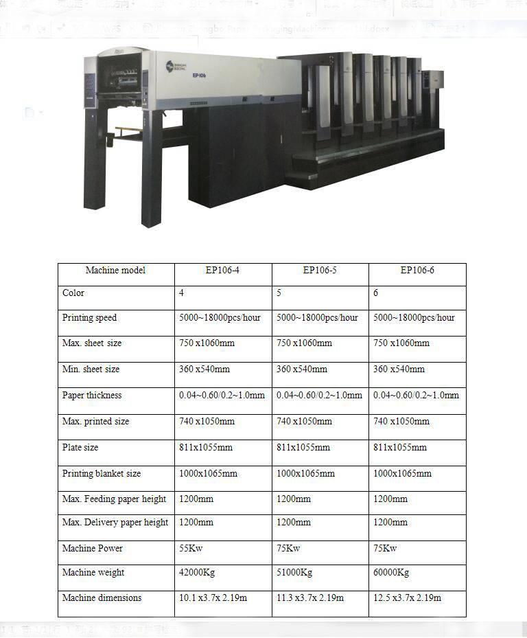 Multicolor Sheet Fed Offset Printing Machine  Model: Akiyama EP-106
