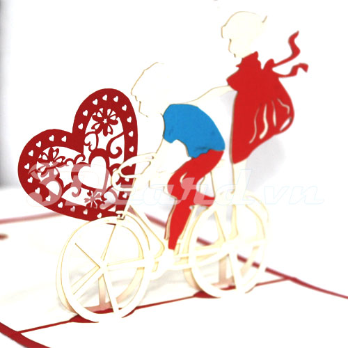 Love Bike-Kirigami-Origamic-Laser cut-Paper cutting-Pop up-3D-Love-Valentine-Birthday-Handmade card