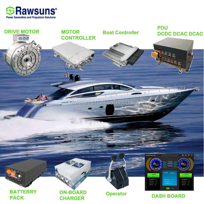 Rawsuns GOOD 130KW electric motor ev conversion kit driving engine for marine boat yacht control