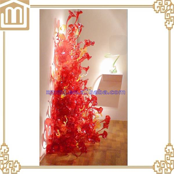 Handmade mouth blown large murano glass flower sculpture for wall decoration