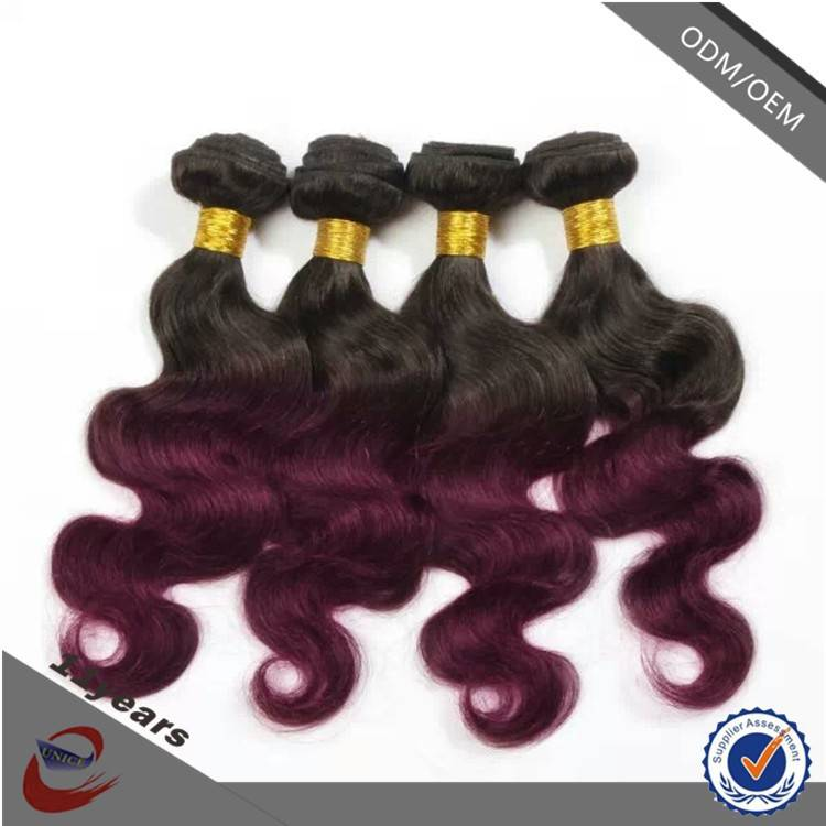 Direct Factory 99j Colored Malaysian Hair Ombre Double Drawn Hair Extensions