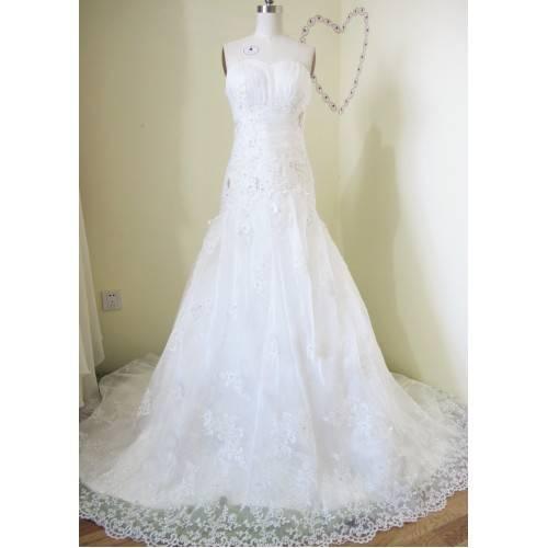 WEDDING DRESS SATIN&ORGANZA FLOOR-LENGTH CHAPEL TRAIN ZIPPER BACK WITH BUTTONS W6024