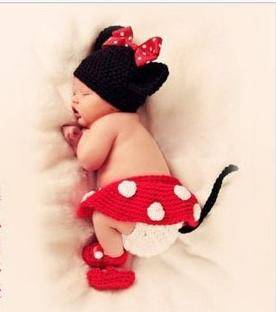 Newborn Baby Photo Prop Crochet Custom Mickey Mouse Photography Back Drop Props Clothing Sets