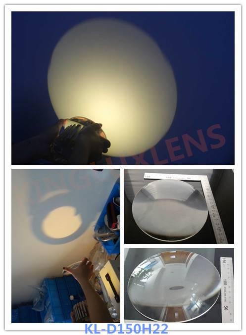 optical led lenses 150mm  diameter glass cob lens