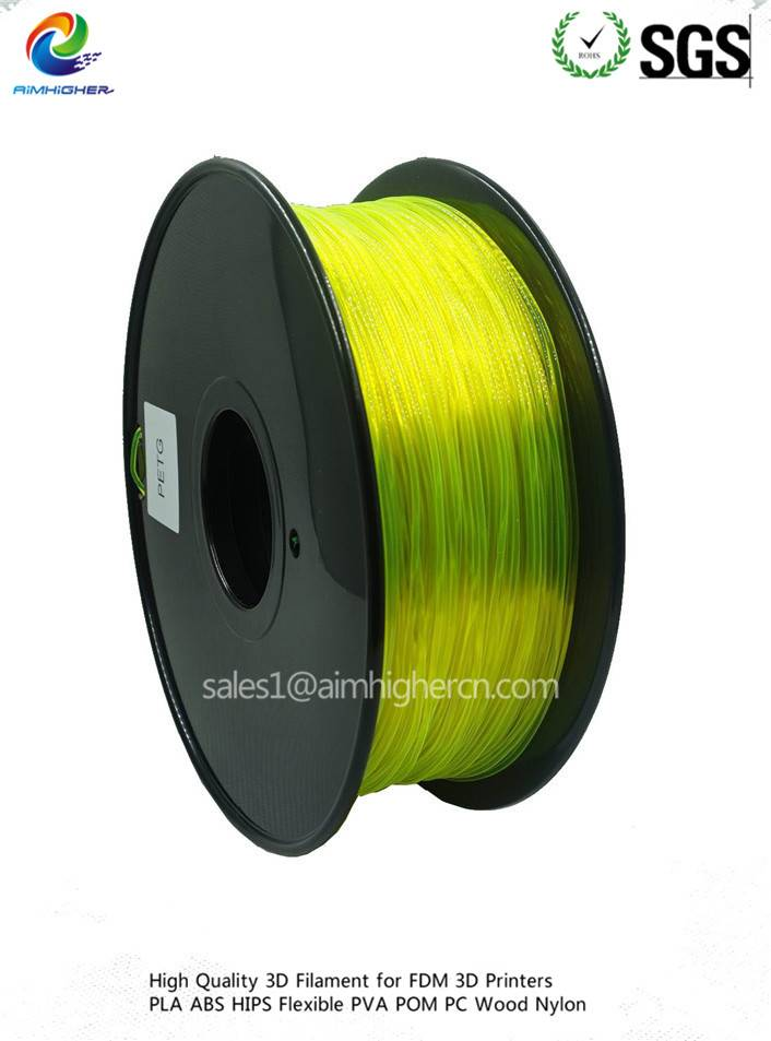 PETG 3d filament Transparent Yellow color 1.75/3.0mm