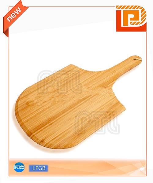 broad wooden pizza  cutting board with handle