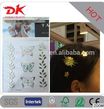Beautiful Hair accessory metallic hair tattoo stickers/gold hair stickers