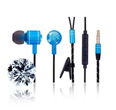 Blue Head Black Line with White Spot Branded New Promotional Samsung Iphone Andriod Stereo Earphone