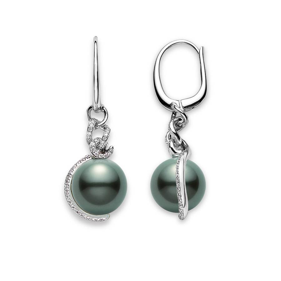 black pearl earring,silver huggie earring