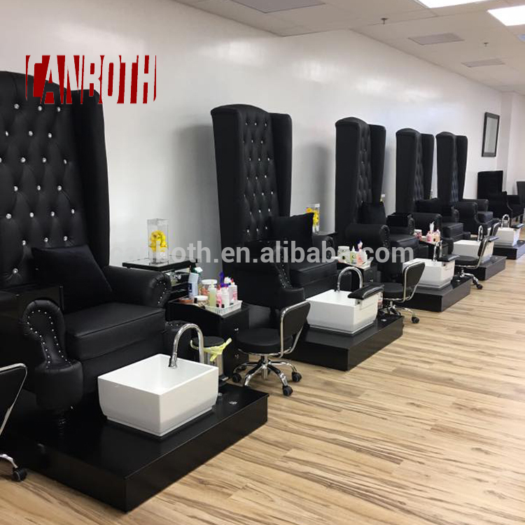 Canboth Black modern french louis nail salon equipment pedicure chair with led light CB-FP001
