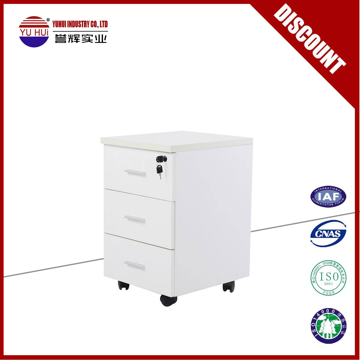 High quality mobile file cabinet in white color
