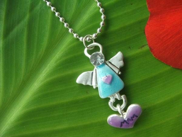 angel necklace with heart charm