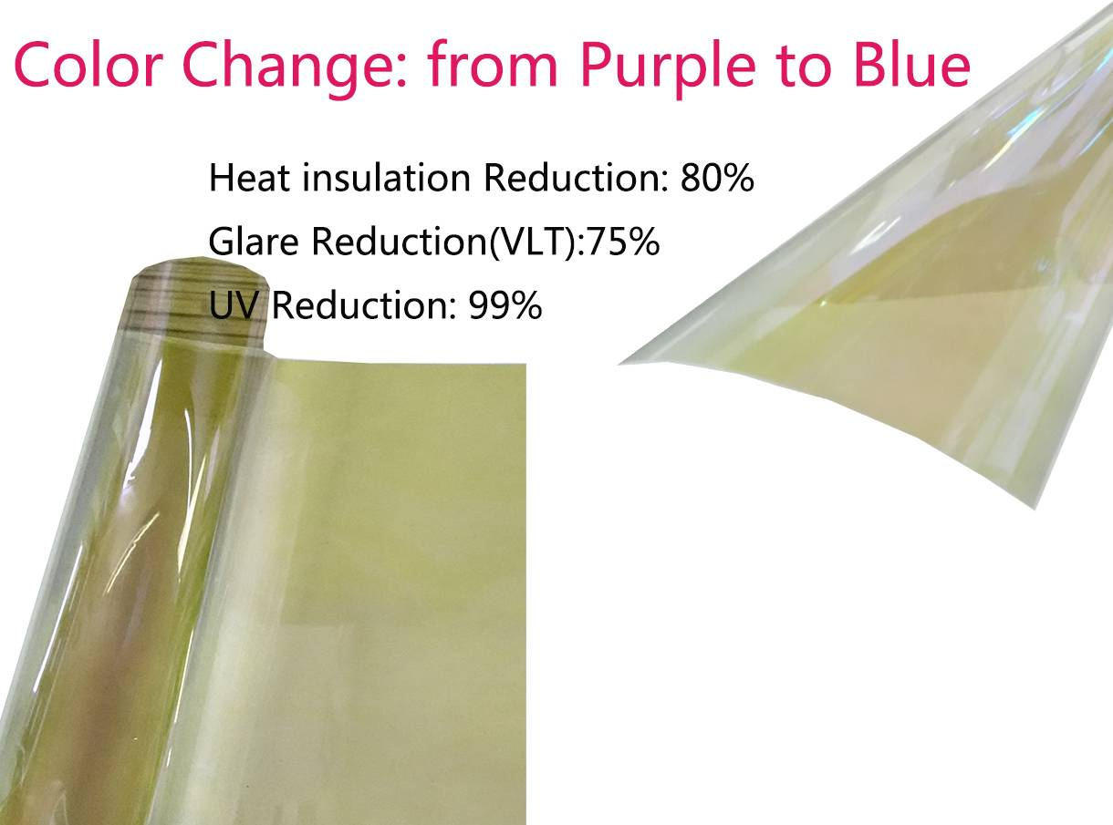 VLT75% Chameleon Window Tint Film SRC Color:Purple to Blue