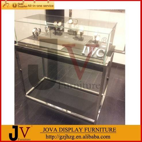 Top quality extra clear jewelry store glass display case for jewelry