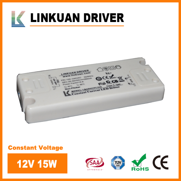 Slim size LED driver 12V/24V 15W output for LED strip lights with SAA TUV certificates LKAD017V