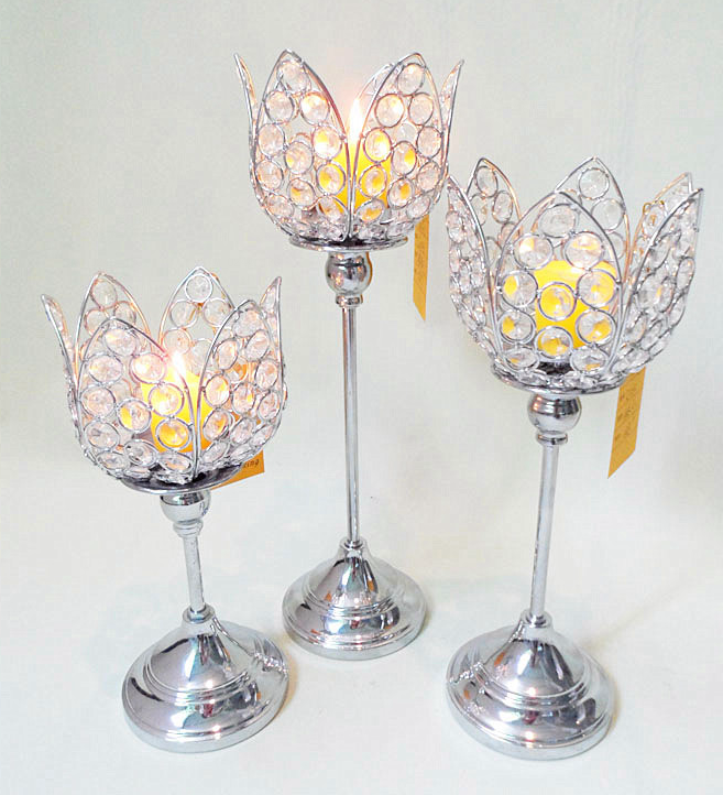 Modern 3 sizes Lotus Flower Small Metal Candle Holder
