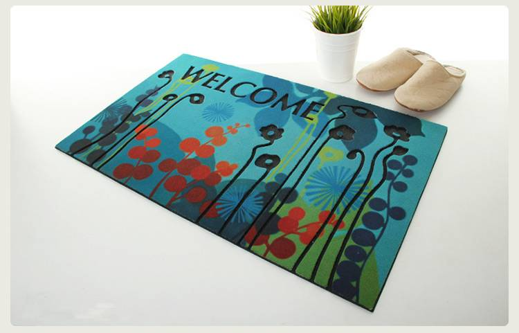 Thickening flocking pattern rubber door mat
