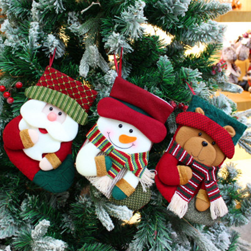 Christmas Decoration Socks Decor Pendant on Christmas Tree Santa Plush Toys