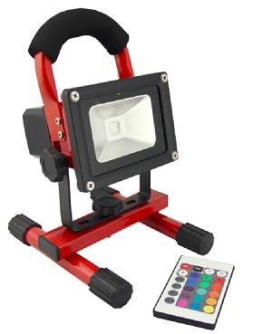 10W LED Portable Rechargeable Flood Light (RGB With IR Control)