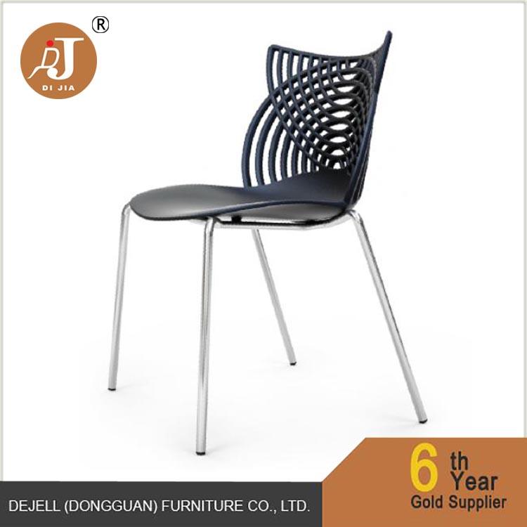 2017 Lastest Design Stylish New Plastic Chair With chrome Metal Legs