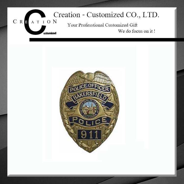 Brass Police Officer Badge with Custom Logo