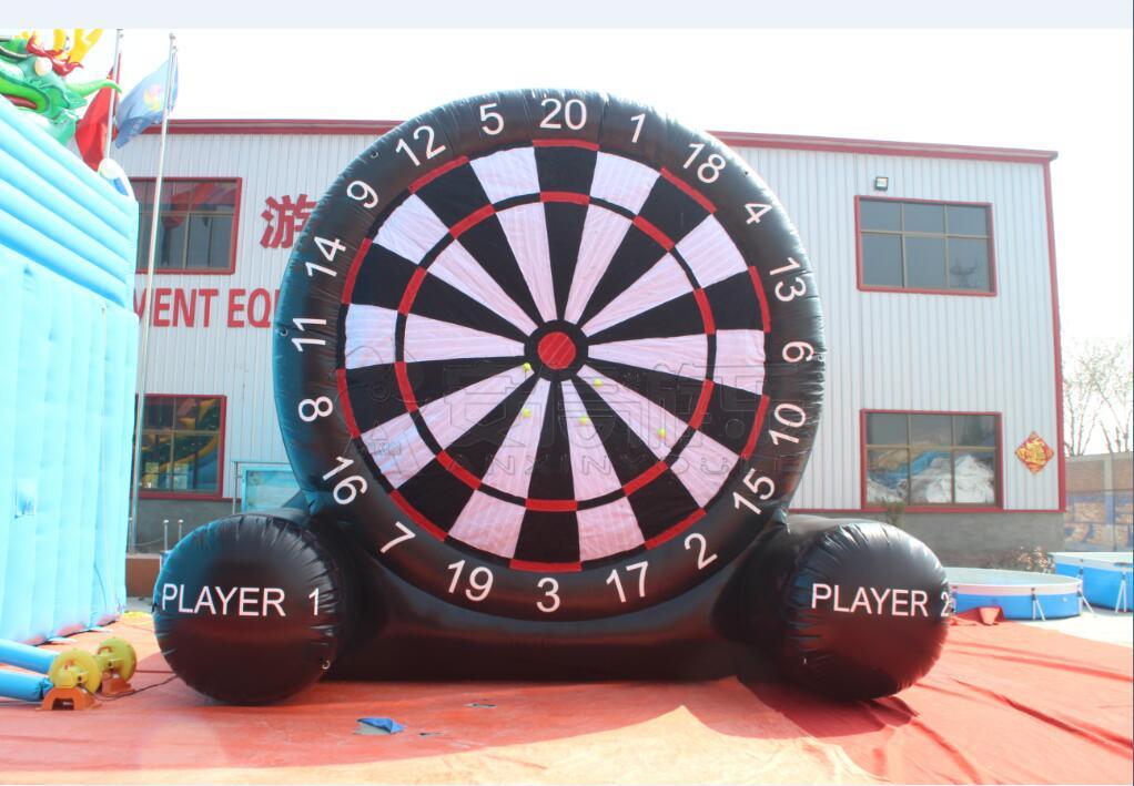 pvc tarpaulin football dart board/inflatable soccer dart board game with hook loop
