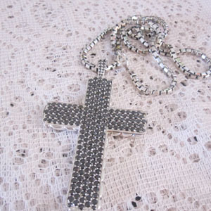 Sterling Silver Jewelry Pave Black CZ Large Cross Necklace (M-016)