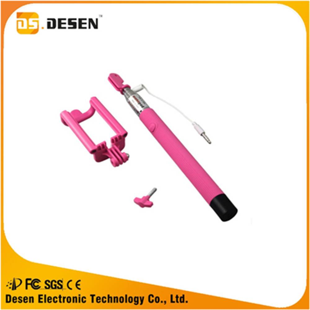 Factory price 1100mm  cable take pole selfie stick