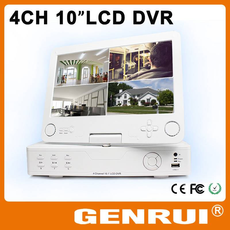 "GENRUI 4CH D1 CCTV DVR H 264, Integrated Foldable HD 10"" Digital LCD"