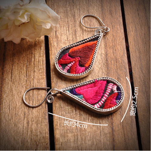 classical style beautiful retro water shape miao silver embrodiery woman earrings