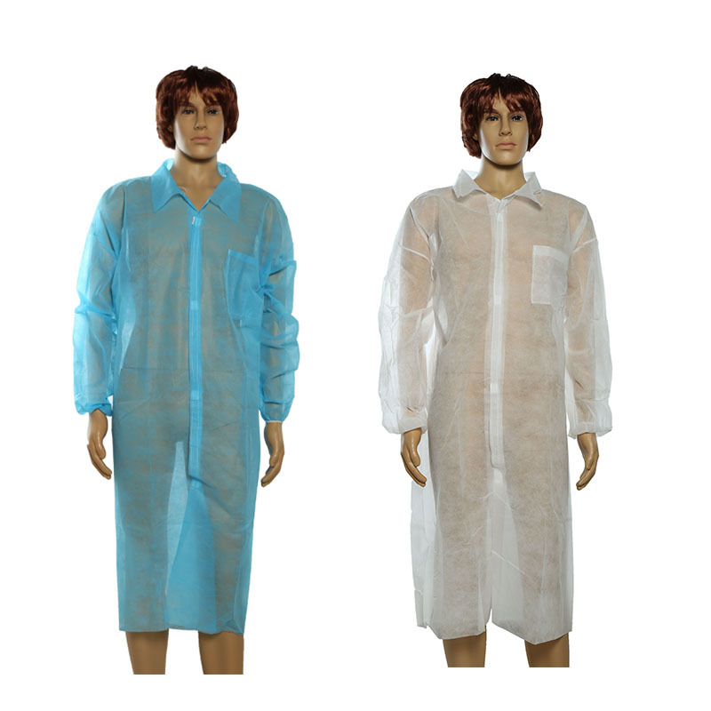 Lab coat with knitted collar and cuffs,disposable SMS lab coat