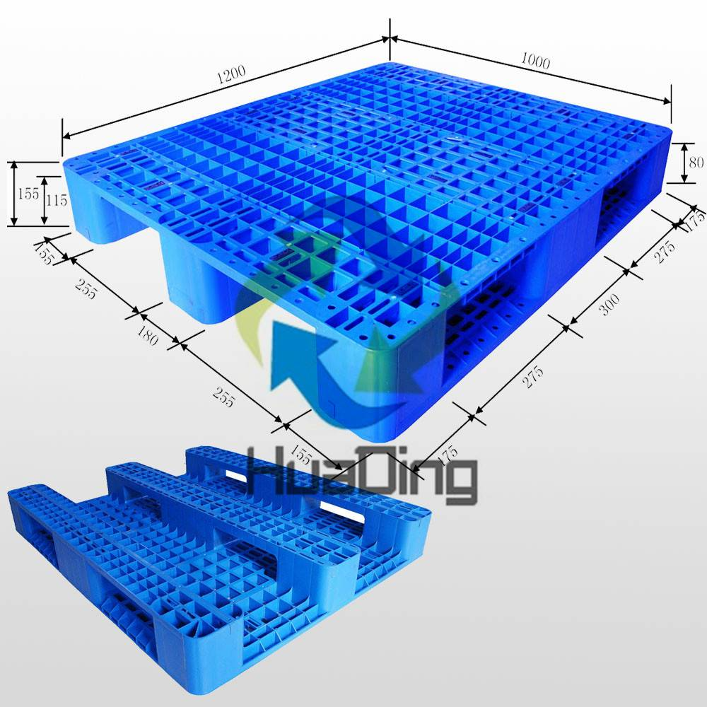 1200*1000*155mm Heavy Duty 3 Runners Open Deck Rackable Plastic Pallet