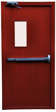 steel fire door in red with narrow vision glass and panic bar