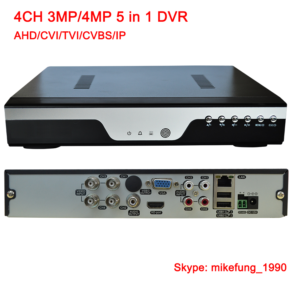 H.265 4CH 4MP Video DVR Recorder support AHD CVI TVI Analog IP Camera 5 in 1 DVR