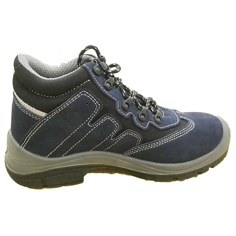 Deep Blue Steel Toe Suede Leather Middle Cut Safety Shoes
