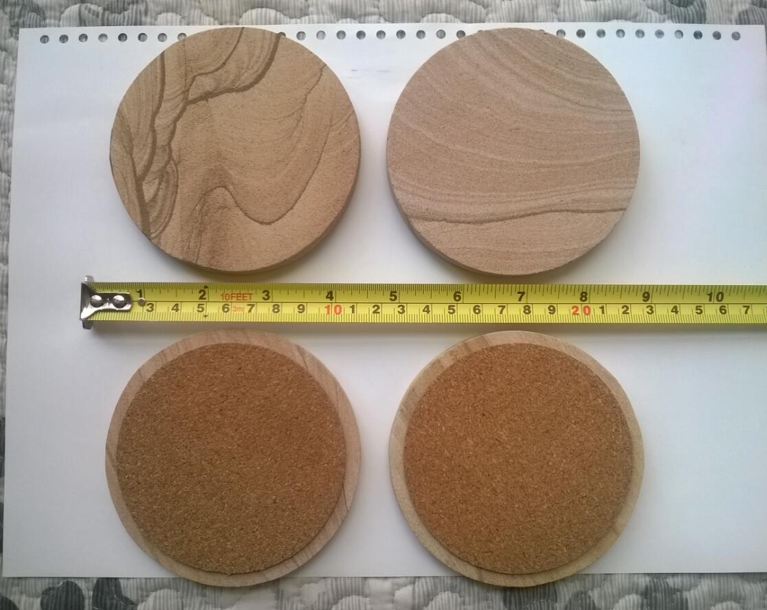 Sandstone material round Coaster with cork backing
