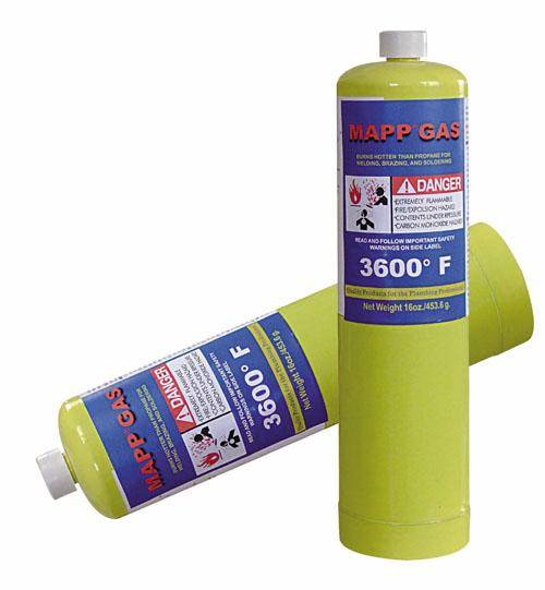 Mapp Gas (Mixture Of Various Hydrocarbons) 16oz net weight 453.6g