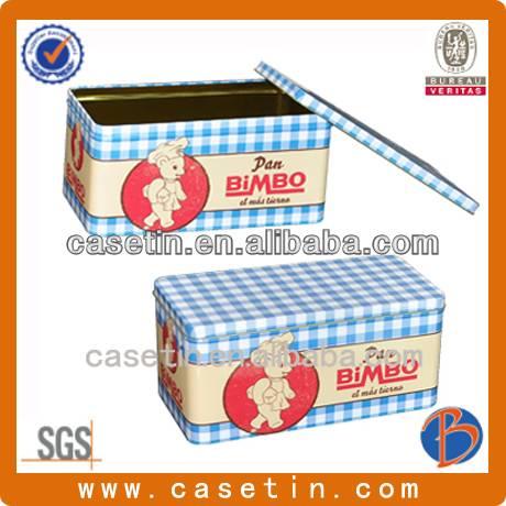 custom shaped metal food grade rectangular cookie packaging box