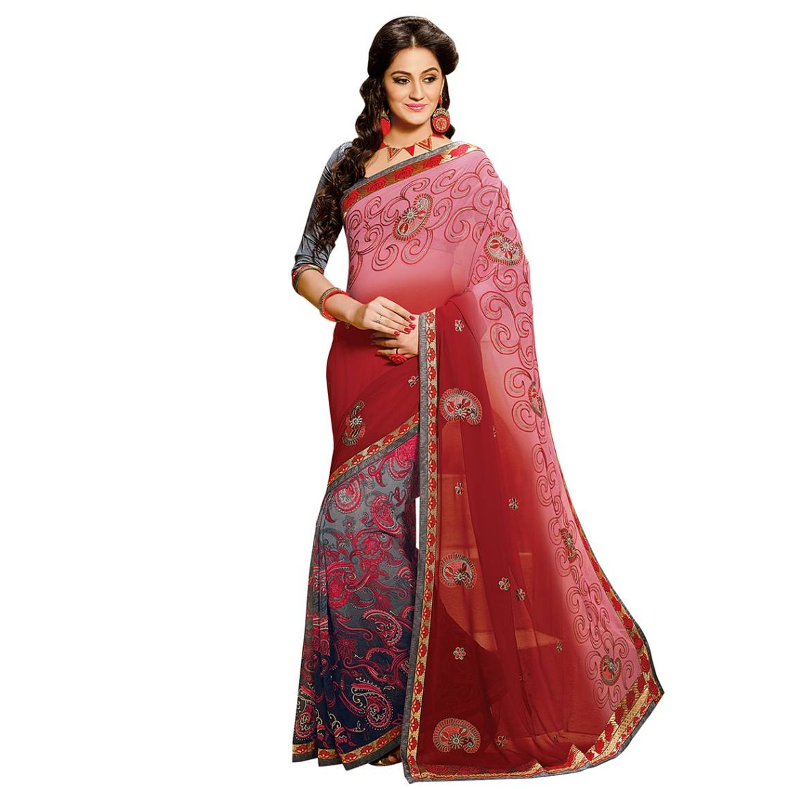 Shonaya Multicolour Georgette Embroidered Sarees With Blouse PieceSGDN2-4869