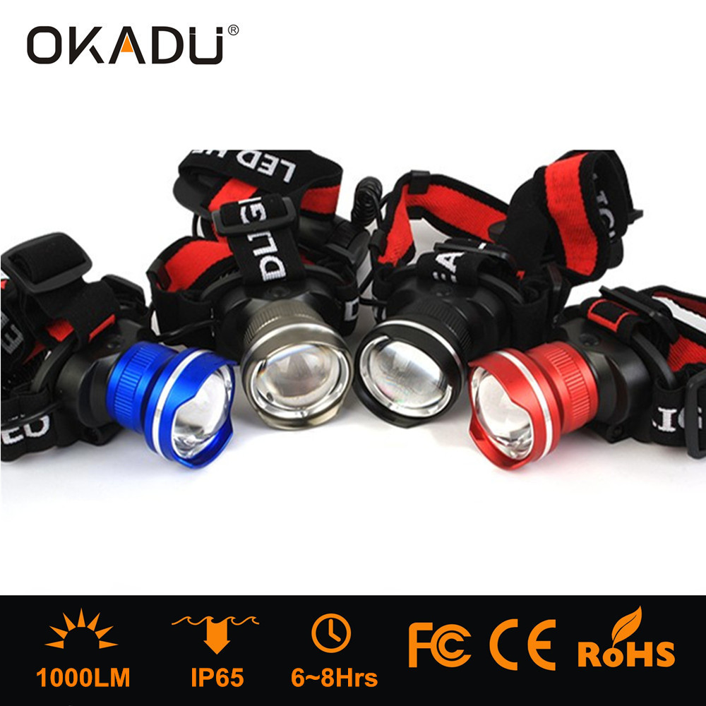 OKADU HT08 Blue Gray Red Black Aluminum 18650 Battery LED Headlight Cree T6 1000Lumen LED Headlamp