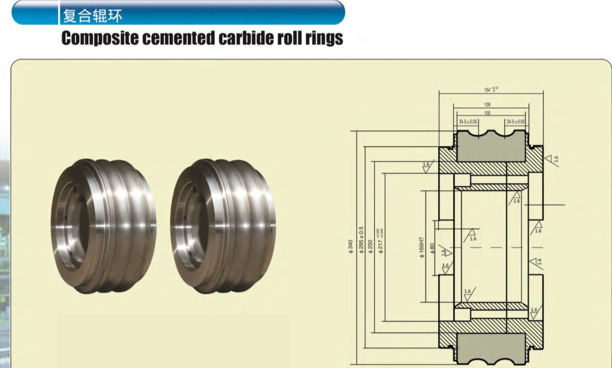 Composite cemented carbide roll rings