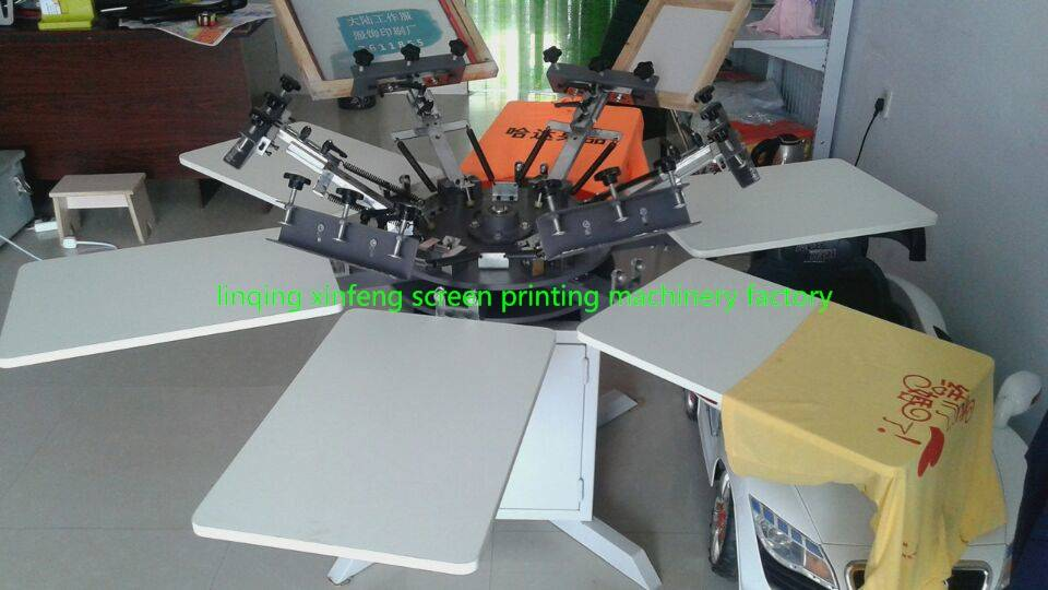 manual 6 color 6 station t shirt screen printing machine for sale